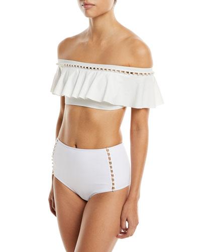 Pearl-Studded Ruffle Bikini Swim Top and Matching Items