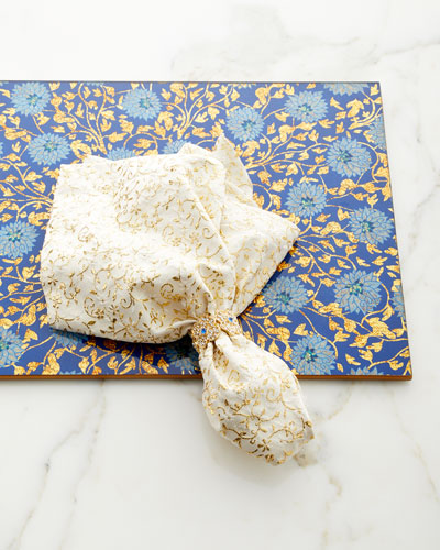 Flower Lace Mirror Placemat, Blue/Gold  and Matching Items