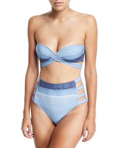 Denim Crisscross Bandeau Swim Top and Matching Items