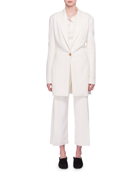Jaymin One-Button Long Crepe Jacket