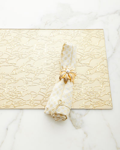 Modern Artistic Glass Rectangle Placemat, Gold  and Matching Items