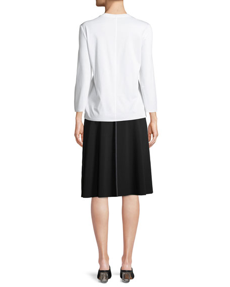 Mave Crewneck 3/4-Sleeve Cotton Top