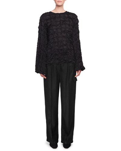 Brenda Crewneck Long-Sleeve Pintucked Silk Top and Matching Items