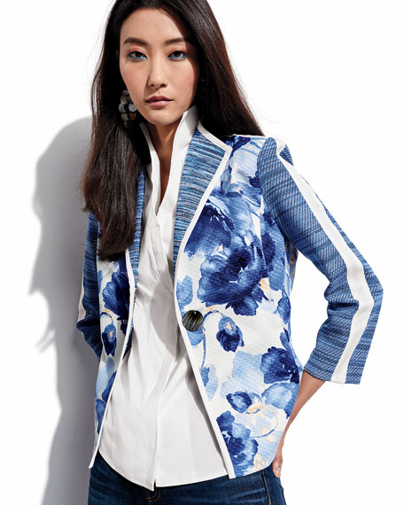 Watercolor Floral Stripe-Sleeve Jacket, Petite