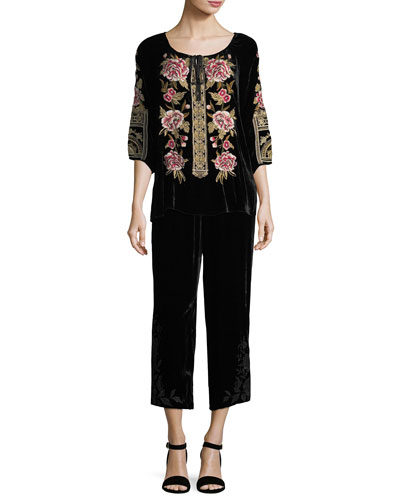 Magdalene Velvet Cropped Palazzo Pants  and Matching Items