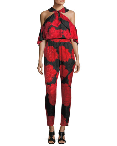 Rose-Print Silk Jacquard Cold-Shoulder Top and Matching Items