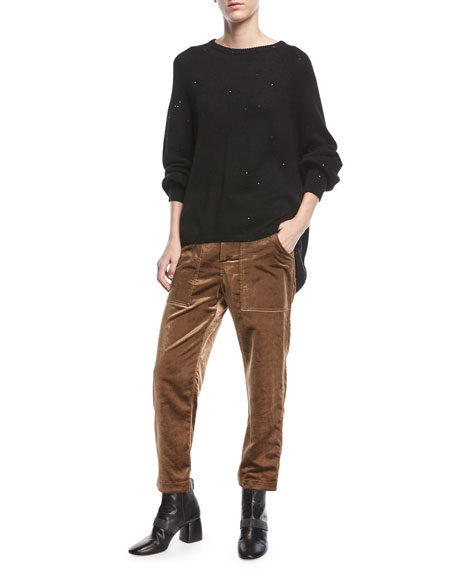Crewneck Long-Sleeve Cashmere-Silk Pullover Knit Sweater