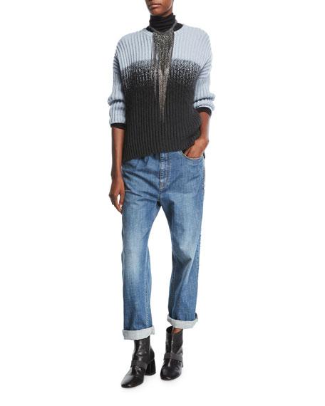 Wool Jersey Turtleneck Sweater with Monili & Mohair Trim, Onyx