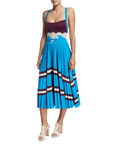 Jersey Lycra® Plisse Midi Skirt with Lace and Matching Items