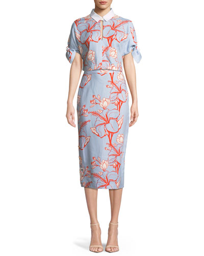 Linear Floral-Printed Crepe Pencil Skirt and Matching Items