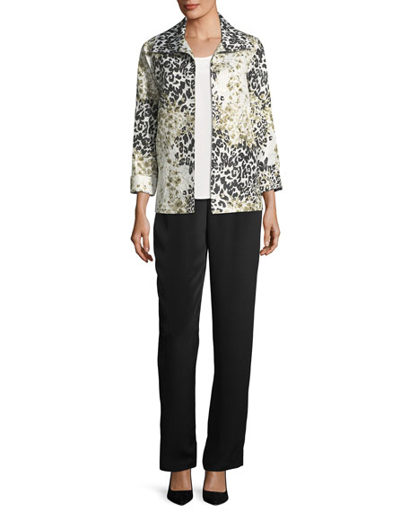 Double Take Jacquard A-line Jacket, Plus Size