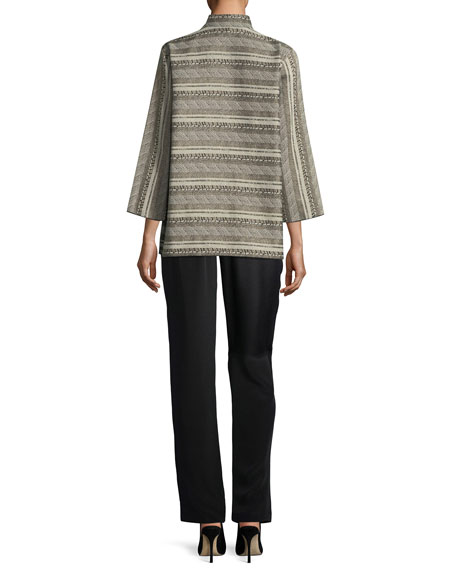 Mixed Striped Jacquard Jacket, Plus Size