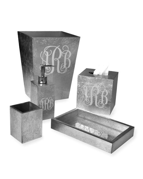 Eos Monogram Wood Brush Holder, Silver