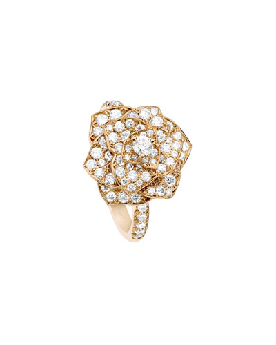 Rose Ring with Pavé Diamonds in 18K Red Gold, Size 7 and Matching Items