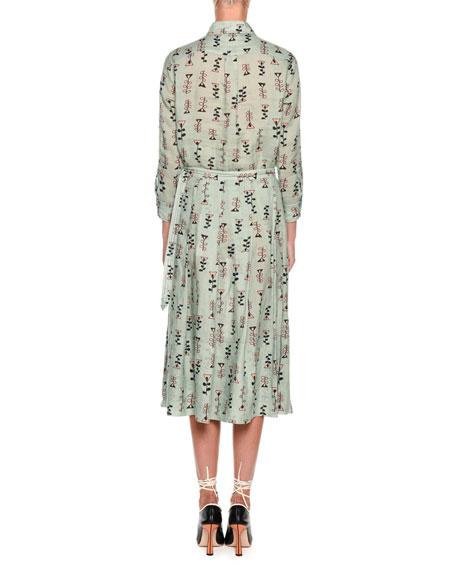 Long-Sleeve Button-Front Vine-Print Woven Blouse