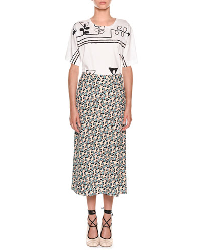 Plumeria Floral-Print A-Line Ankle-Length Skirt and Matching Items