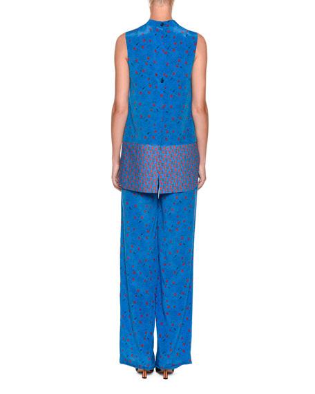 High-Neck Sleeveless Printed Tunic Blouse