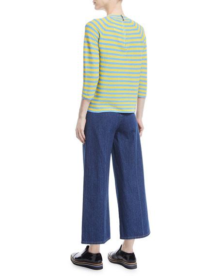 Mock-Neck Elbow-Sleeve Striped Sweater