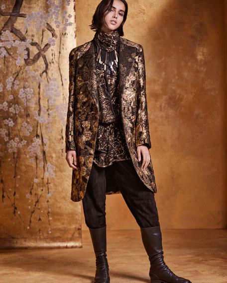 Asymmetric Front Metallic Jacquard Coat