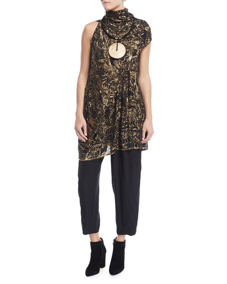 River-Ripple Mock-Neck Sequined Top