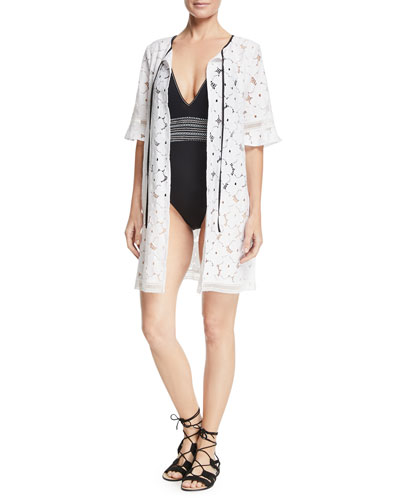 Mila Floral-Lace Tie-Neck Swim Coverup and Matching Items