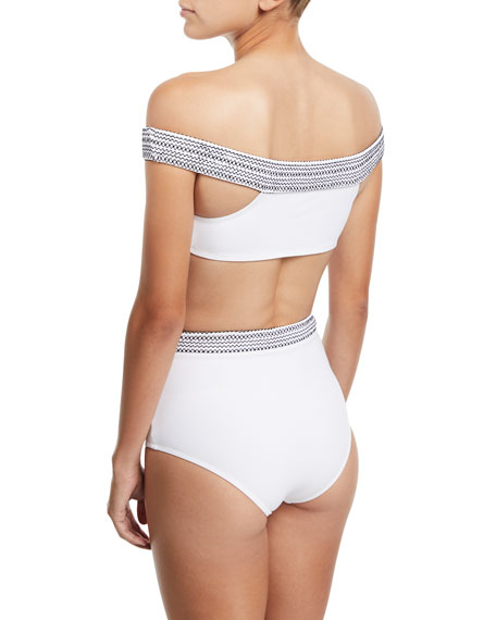 Mila Off-the-Shoulder Swim Top with Topstitching