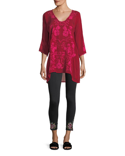 Sheradonian Floral-Applique Georgette Tunic and Matching Items