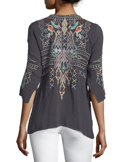 Seeroon Embroidered V-Neck Top, Plus Size