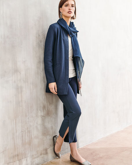 Textural Cotton Stretch Jacket, Petite