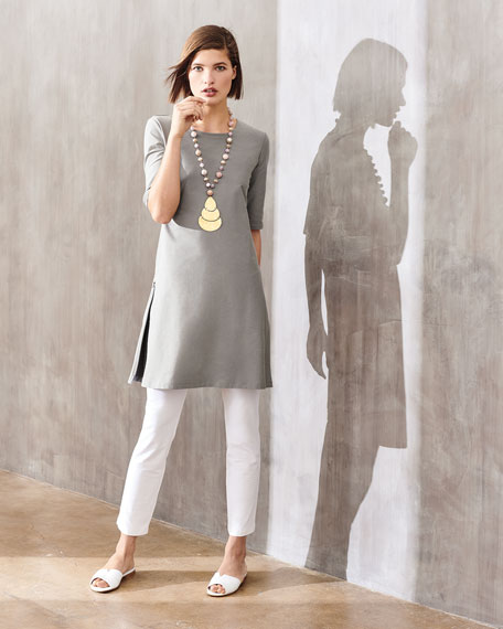 Half-Sleeve Crepe Shift Dress, Plus Size
