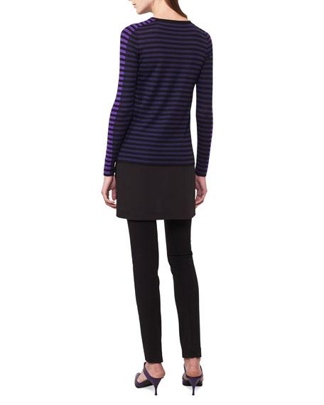 Striped Knit Pullover Top w/Shirttail Underlay
