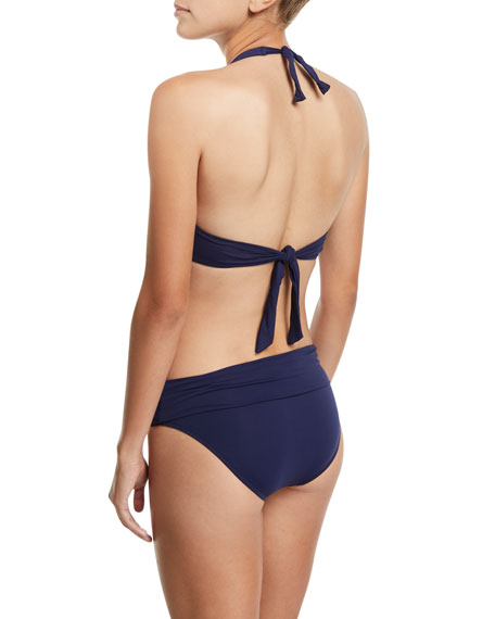Trinidad Plunging Halter-Neck Swim Top