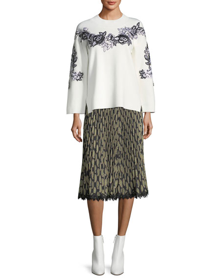 Viola Pleated Paisley-Print Skirt