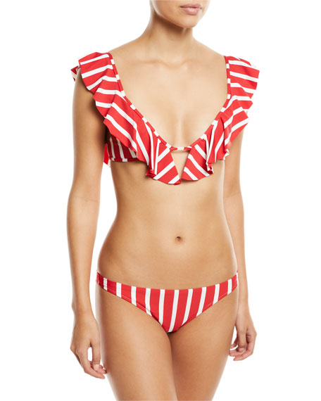 Striped Ruffle Pinafore Swim Top