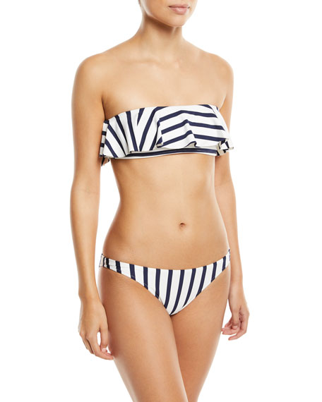Striped Ruffle Bandeau Swim Top