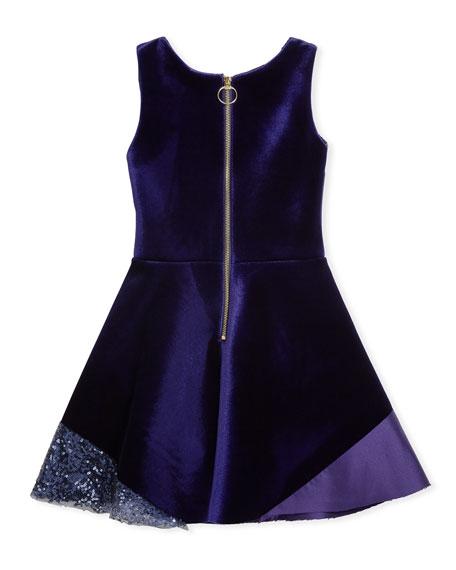 Velvet Colorblock Sleeveless Dress, Size 4-6X