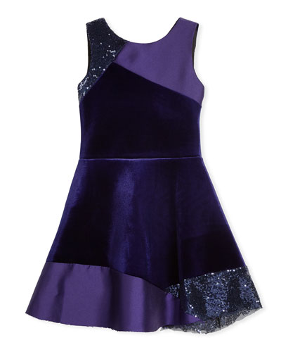 Velvet Colorblock Sleeveless Dress, Size 4-6X and Matching Items