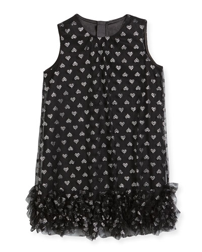 Tessa Embroidered Hearts Tulle Ruffle Trapeze Dress, Size 4-7 and Matching Items