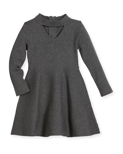 Cutout Long-Sleeve Flare Dress, Size 4-7 and Matching Items