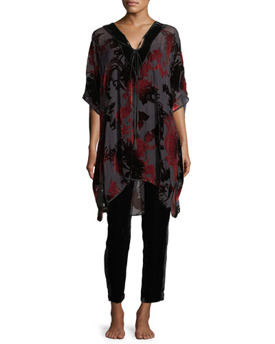 Shadow Velvet-Burnout Caftan and Matching Items