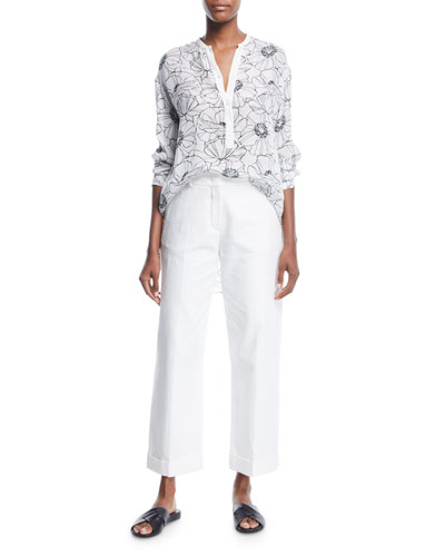 Cathy Floral-Print Henley Silk Shirt and Matching Items