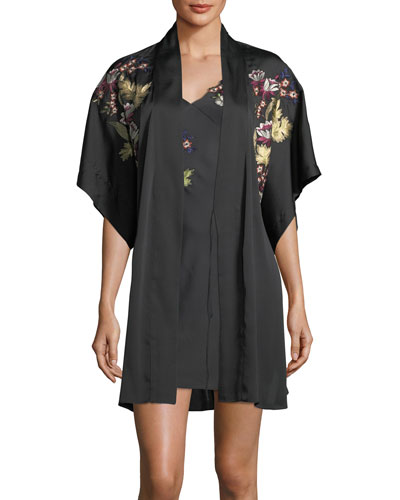Alyssa Embroidered Short-Sleeve Robe and Matching Items