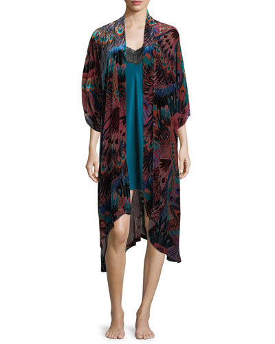 Gatsby Peacock-Print Velvet Wrap and Matching Items