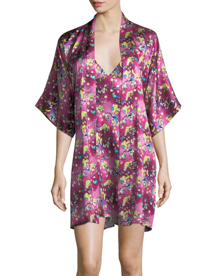 Whimsy Floral-Print Silk Robe