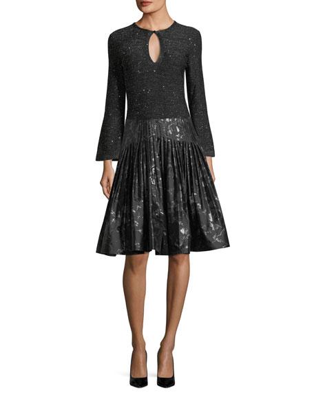 Jacquard Metallic Pleated Party Skirt