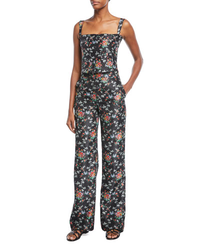Pamela Floral-Print Crepe de Chine Wide-Leg Pants and Matching Items