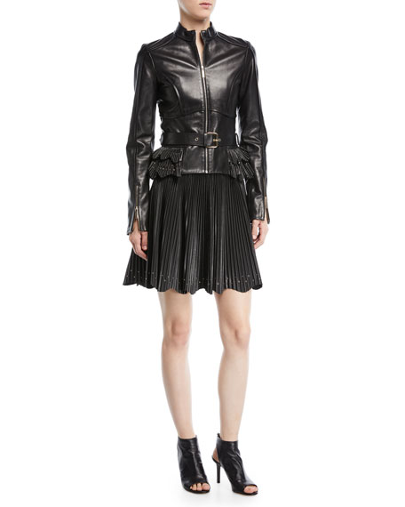 Zip-Front Belted Leather Peplum Jacket with Stud Details