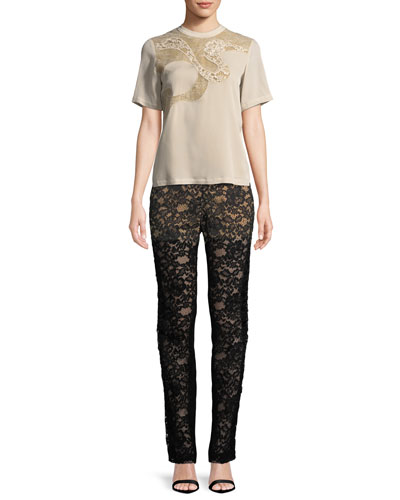 Short-Sleeve Blouse with Lace and Matching Items