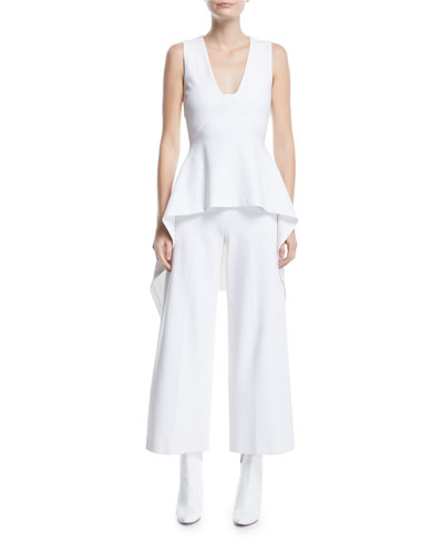 High-Rise Wide-Leg Interlock Jersey Cropped Trousers and Matching Items