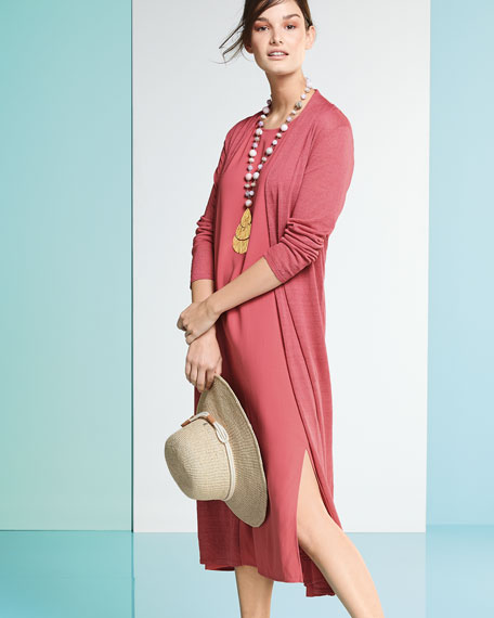 Fine Organic Linen-Blend Maxi Cardigan, Petite